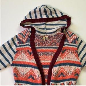 BKE Sweaters - BKE • Buckle Mixed Pattern Hooded Cardigan